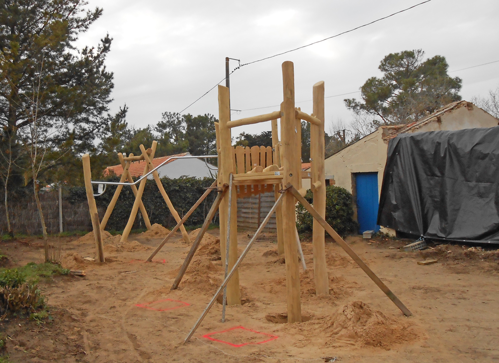 Wooden playground under construction